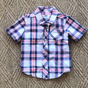 Old Navy Short Sleeve Button Plaid Shirt. 18-24 m